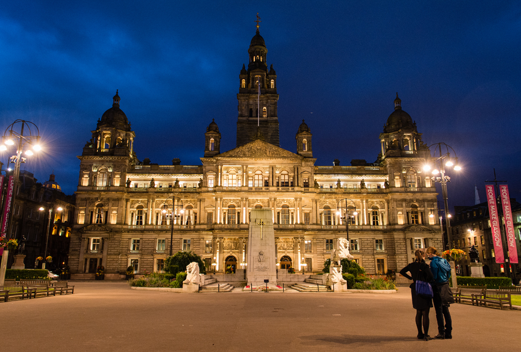 George Square in de avond.